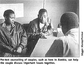 Pre-test counselling of couples, such as here in Zambia, can help the couple discuss important issues together.