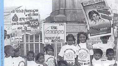 """Protect our mothers"", say the placards held by children of sex workers in India."